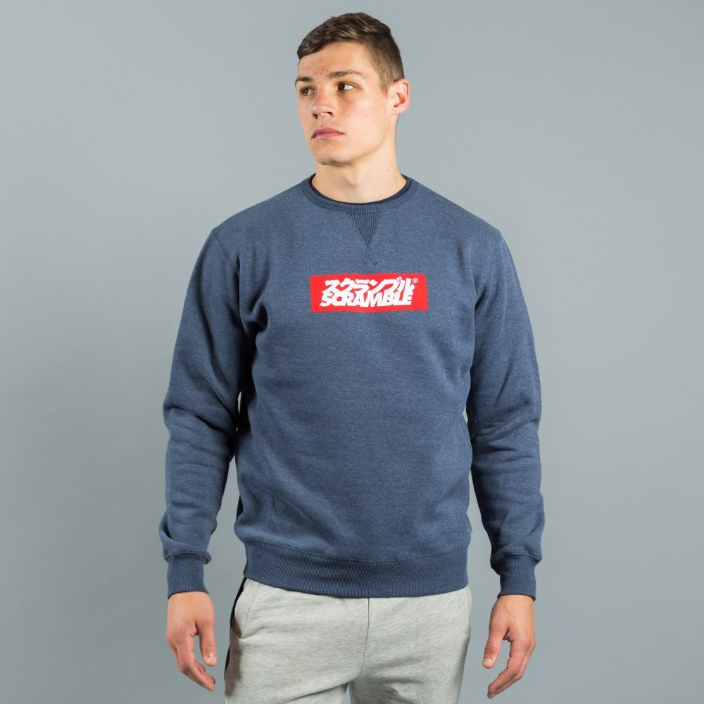 Scramble Box Logo Crew Neck - Navy